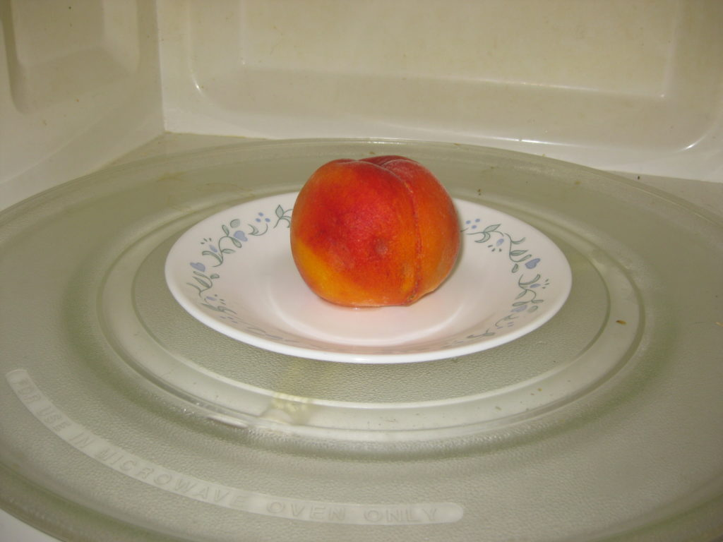 peach in microwave