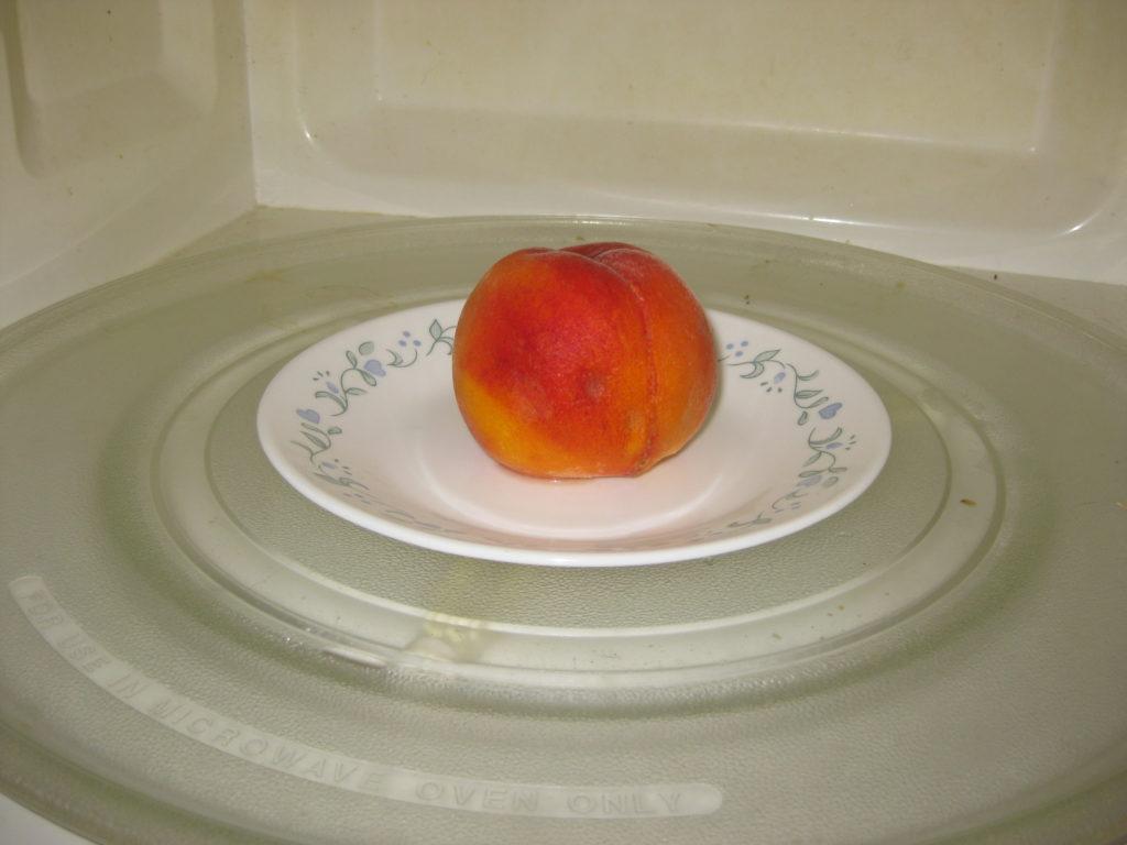 peach in microwave